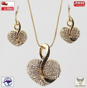 Fashion Yellow Gold Plated Heart Crystal Necklace Earring Jewellery Set[A9V2~B9]