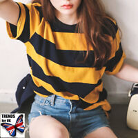 Summer Ladies Bee Striped Short Sleeve T Shirt Loose Blouse Tops Seja AaZrs