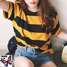 Summer Women Bee Striped Short Sleeve T-Shirt Loose Blouse Tops Basic Tee UK