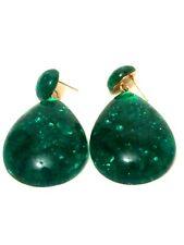 Womens STATEMENT Big Large Long GREEN Marble Bead Drop Dangle Earrings Wedding