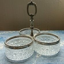 More details for antique retro silver plated crystal cut triple appetiser serving dish bowl tray