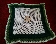 WHITE AND GREEN  CROCHETED WOOL BLANKET