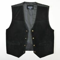Basic Editions Suede Leather Vest Waistcoat Black Gray Snap Biker Mens Medium M