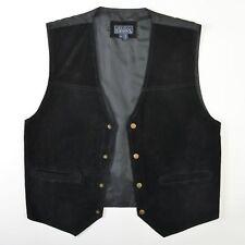 Basic Editions Suede Leather Vest Waistcoat Black Gray Snap Biker Mens Medium