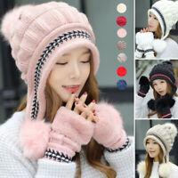 Women Knitted Hat Gloves Set Xmas Gift Winter Warm Thicken Crochet Beanie Caps