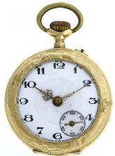 Außergewöhnliche Damen Prunk Taschenuhr Anhängeuhr 585/14k Gold Ø 28,5mm 18,3g