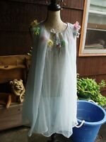 VINTAGE PEIGNOIR SET, 2 PC., BABY BLUE