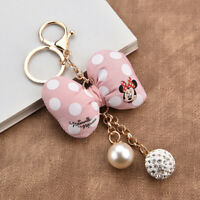Cute Mickey Minnie Mouse Key chain Polka Dot Bow Knot Keychain Bag Car Keyring