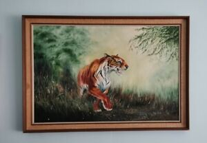 Oil Painting, Prowling Tiger. Framed. Jungle picture. Retro Frame.Large Picture