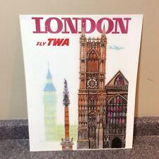 London Fly Twa Metal Sign Travel Promo Mint
