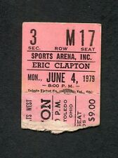 Original 1979 Eric Clapton Muddy Waters Concert Ticket stub Toledo OH Backless
