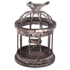 Adorable Look Small Iron Bird Cage with Bird on Top. vintage décor scheme.