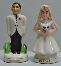 Vintage Collectible Japan Bride & Groom Time Goes On Salt & Pepper Shaker Set