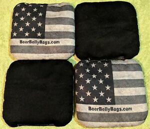 USED American Flag ACL Beer Belly Pro Style Cornhole Bags Stick & Slick Set X4