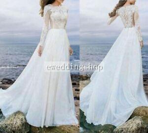 Lace Long Sleeve Beach Wedding Dress Bridal Gown Custom Size 2 4 6 8 10 12 16+++