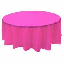 "2 Plastic Round Tablecloths 84"" Diameter Table Cover - Hot Pink"