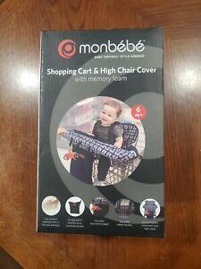 NEW MONBEBE 2-in-1 Shopping Cart Cover & Highchair Cover, Blue&White Design NIB