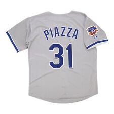 Mike Piazza 1997 Los Angeles Dodgers Grey Road Jersey w/ Jackie 50th Patch XL