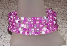 Magenta Rose n White Mix Beaded Wrap Memory Wire Coil Bracelet Glass Beads - USA