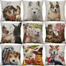 "18"" Cotton Linen Printing colored drawing Dog Animal pillow case Home Decor Cove"