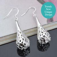 925 Sterling Silver Plated Trendy Hollow Water Drop Filigree Dangle Earrings