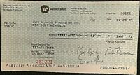 BURT REYNOLDS RARE ORIGINAL 1985 PERSONAL PAYROLL CHECK FROM WARNER BROTHERS!!!!