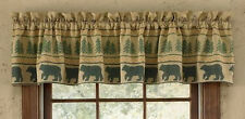 Bear Tracks Lined Cotton Country Cabin Window Valance 60x14 Home Decor
