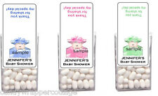 24 TIC TAC CANDY Labels Personalized Shower BABY BUNDLE FAVORS Adorable Boy Girl