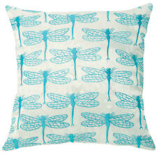 dragonfly turquoise embroidered satin cushion covers