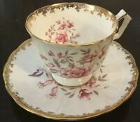 Aynsley Large Pink Floral Footed Cup & Saucer~Gold Lace~Large Cabbage Bouquets