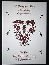 HANDMADE PERSONALISED RUBY WEDDING 40th ANNIVERSARY CARD HEART