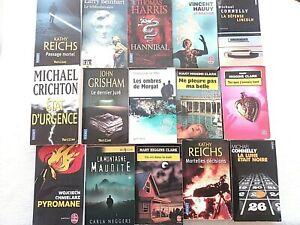 Lot de 15 livres romans policiers thrillers différents auteurs et éditions