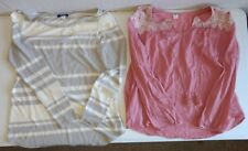Lot of 2 OLD NAVY Womens Large Tops: Pink Peasant Blouse & Scoop Neck Blouse