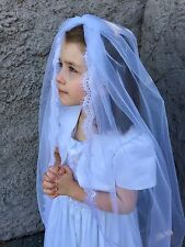 White First Communion veils and mantilla Catholic chapel lace-Ella