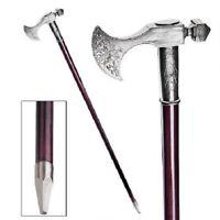 Italian Bavarian Solid Polished Pewter Axe Walking Stick Hardwood Cane