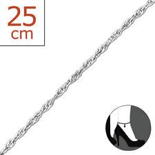 TJS 925 Sterling Silver Anklet Twist Chain 22cm Expandable to 25cm Plain Design