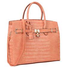 New Women Handbag Lock Croco Faux Leather Satchel Briefcase Tote Bag Large Purse