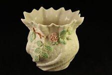 Porcelain Belleek Fine Parian China Shamrock Rose Cache Pot Vase 7th Brown Mark