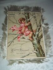 Vtg. Victorian Christmas Holiday Decoration - Two-Sided Postcard w/Fringe Edges