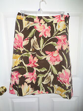 Talbots  - Brown - Multi-colored Floral Flower Skirt - Size 16