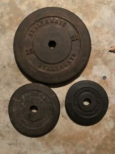 Vintage Healthway 25, 10, and 5 Pound Weight Plates 40lbs Total H