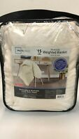 MAINSTAYS Weighted Blanket W/ Removable Cover 15 Lbs  IVORY  (48 IN X 72 IN)
