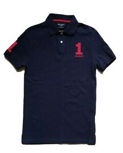 HACKETT POLO SHIRT NO 1 S (36) BLACK RED RRP £95 AUTHENTIC
