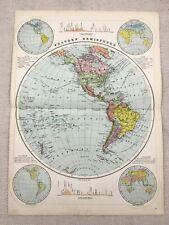 1891 Antique World Map Western Hemisphere Physical Globe Victorian Original