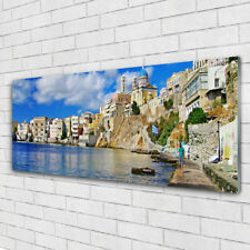 Glass print Wall art 125x50 Image Picture City Sea Architecture
