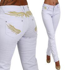Sexy Mujer vaqueros pantalones de tubo Oro Ala Cintura Baja Low Rise Bordado