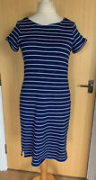 White Stuff Ladies Dress 14 Stripy Navy Casual Summer Everyday Holiday