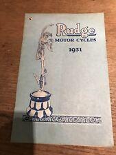 Catálogo de ventas 1931 Rudge Whitworth Motocicleta Ulster especial 350 500 TT Etc