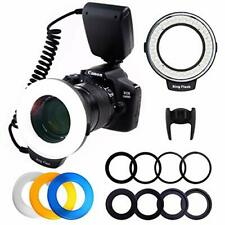 PLOTURE Flash Light with LCD Display Adapter Rings and Flash Diff-Users for Cano