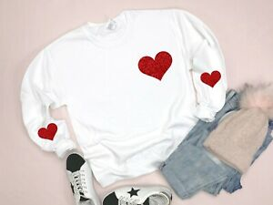 Womens Lounge Wear Heart Valentines Gift for Wife Pullover Casual Sweater Tops